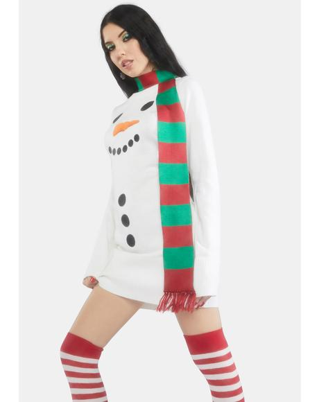 Snowman Scarf Sweater Dress