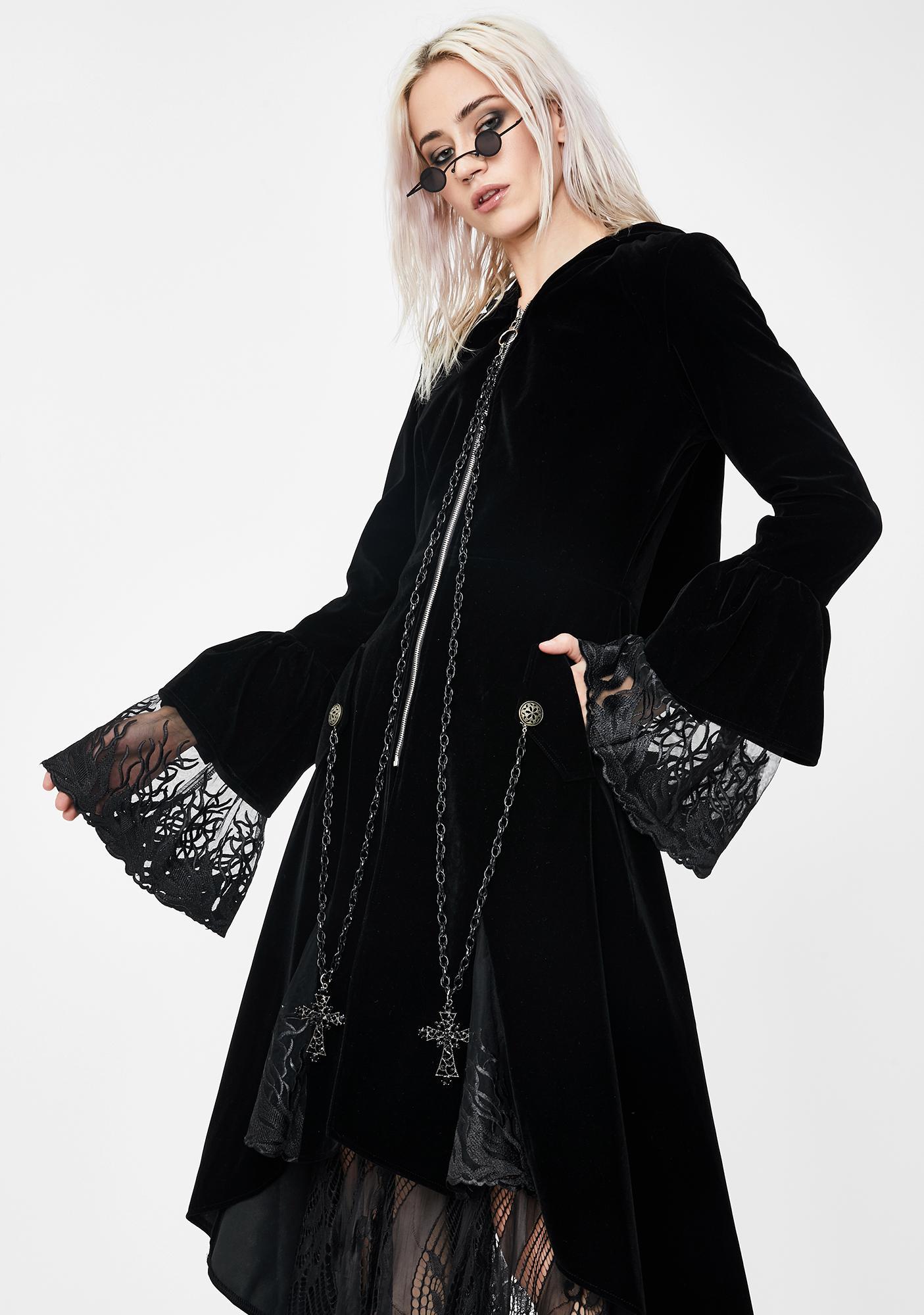 Dark In Love Mysterious Cross Hooded Velvet Coat