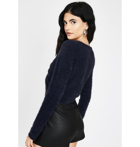 Honey Punch Inked Navy Cropped Fuzzy Sweater