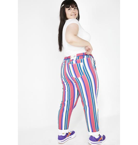dELiA*s by Dolls Kill Pumpin' Up The Jam Striped Jeans
