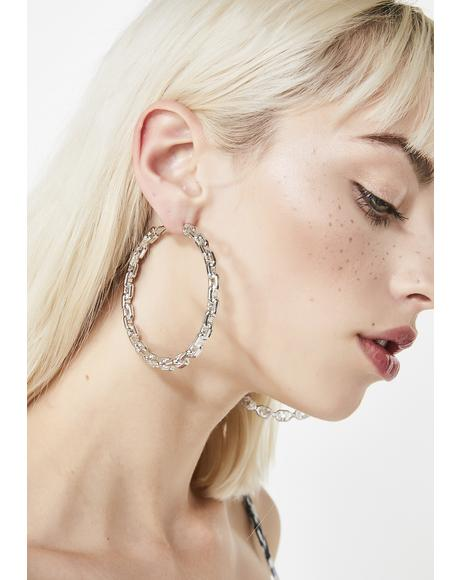 Shackled Up Chain Hoop Earrings