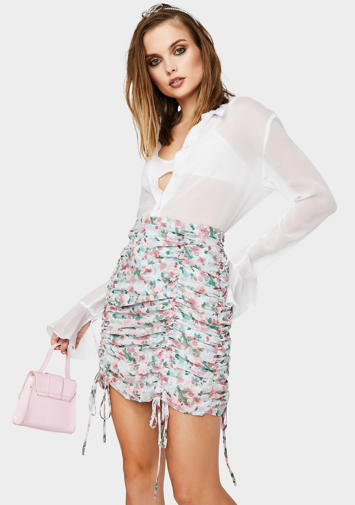 Hope To Bloom Ruched Skirt