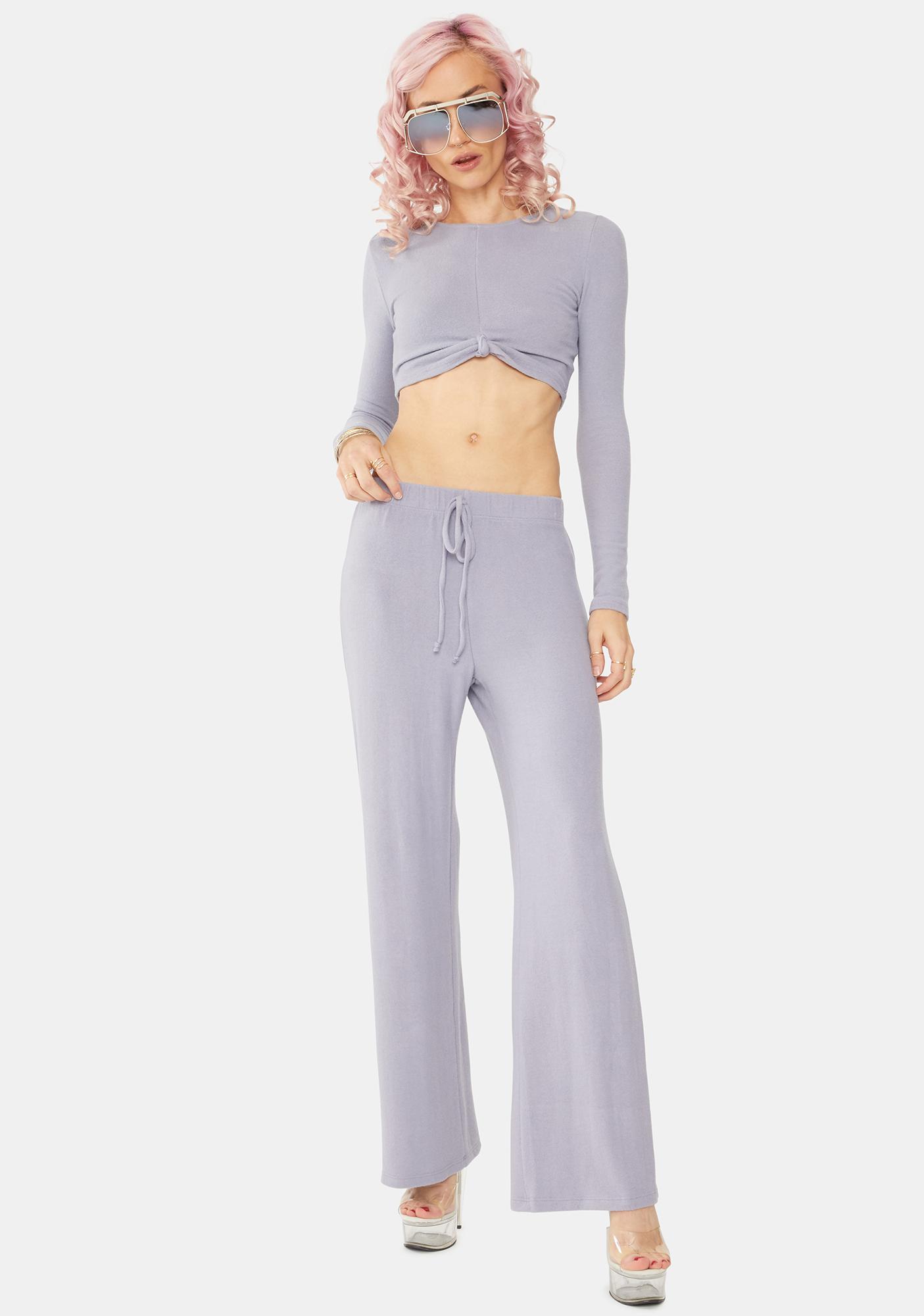 Bailey Rose Dusty Lavender Long Sleeve Crop Top