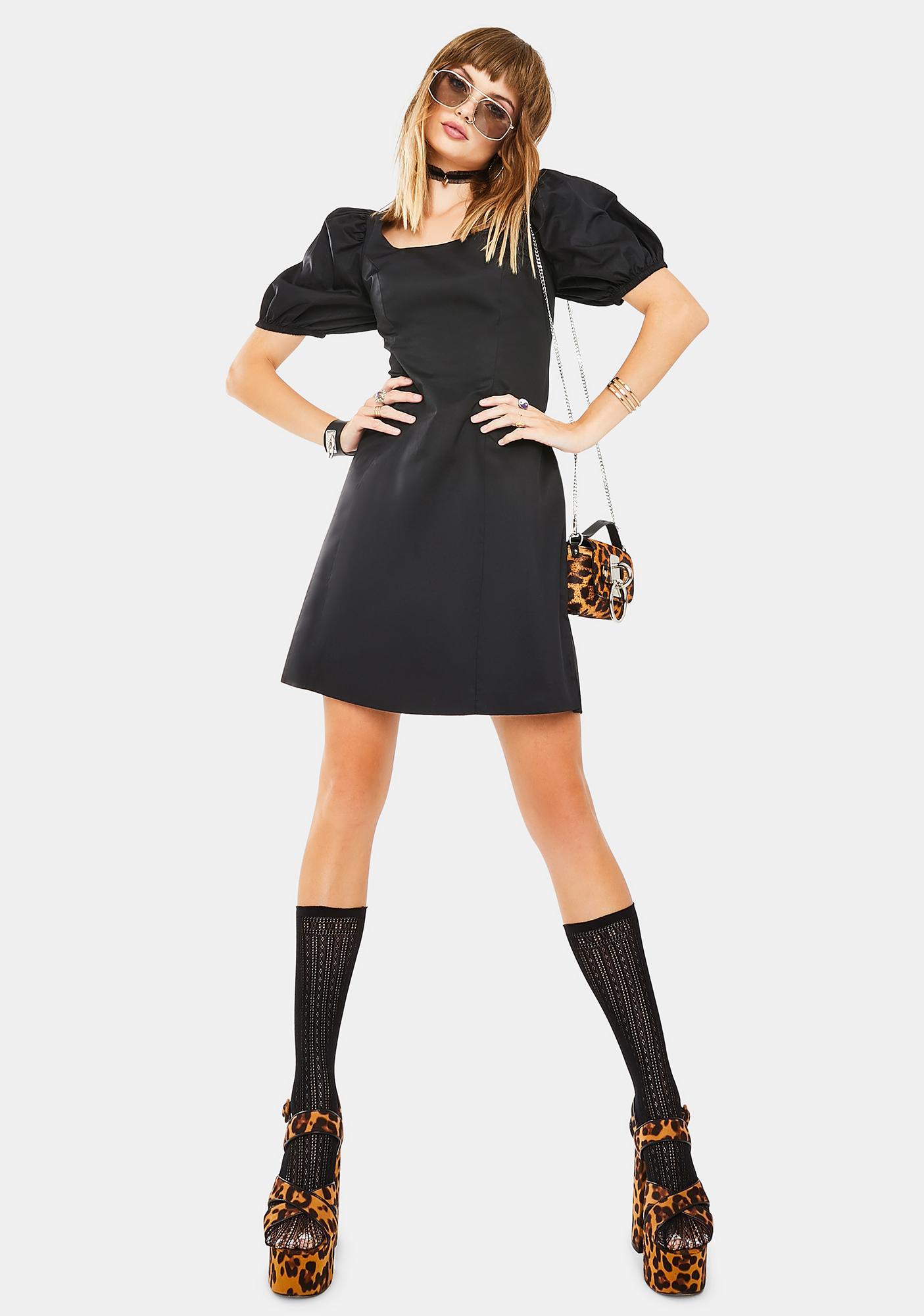 Glamorous Onyx Puff Sleeve Mini Dress