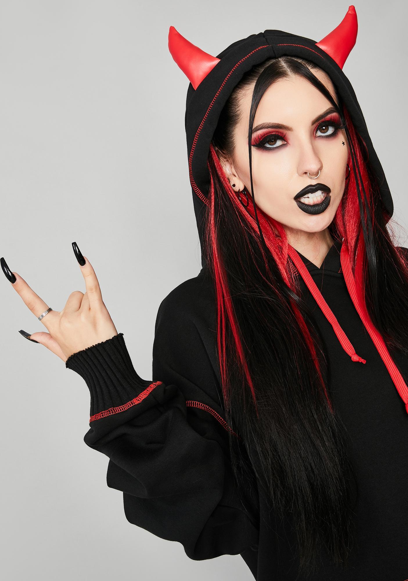 Widow Calling All Devils Horned Hoodie