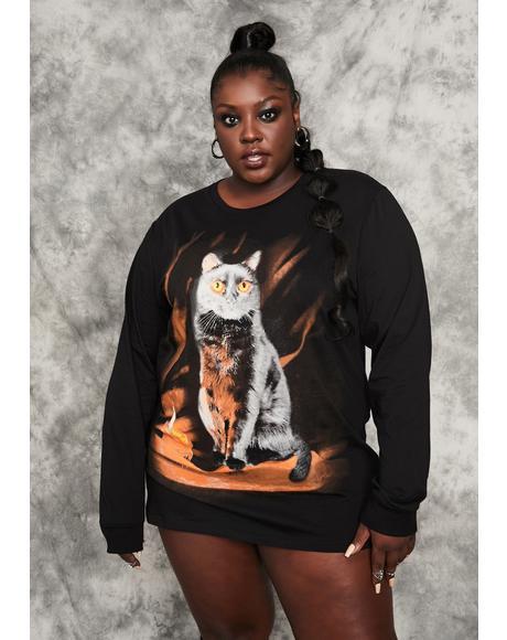 She's Purr Evil Oversized Crewneck Sweatshirt