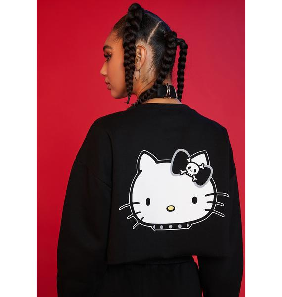 Dolls Kill x Hello Kitty Mischief On My Mind Crop Sweatshirt