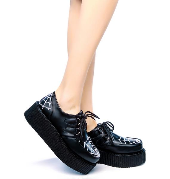 Demonia Spider Web Embroidered Creepers