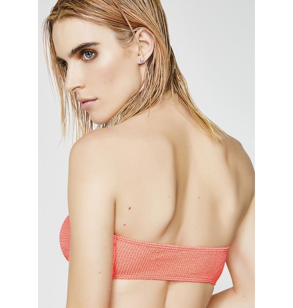 Jaded London Bandeau Bikini Top With Heart Ring