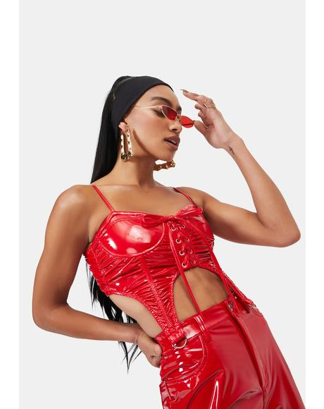 Cherry Severe In Here Vinyl Bustier