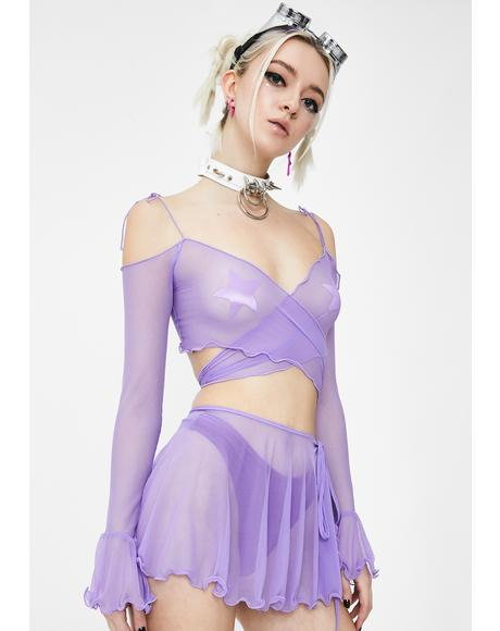 Lilac Faerie Mesh Wrap Skirt