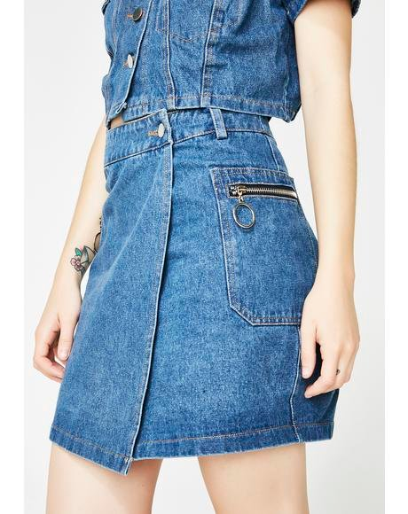 Bish I Might Be Denim Skirt