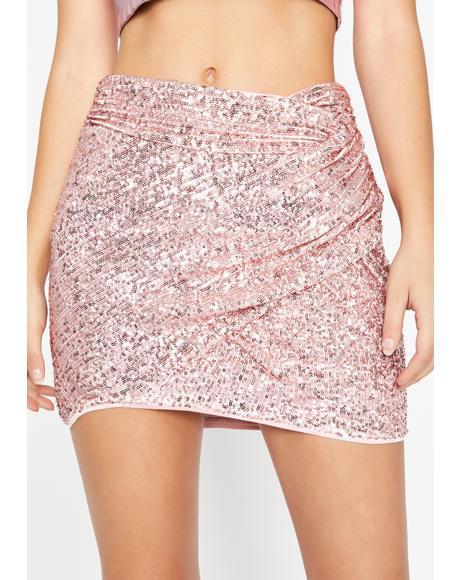 Rose Glamorous Glimmer Sequin Skirt