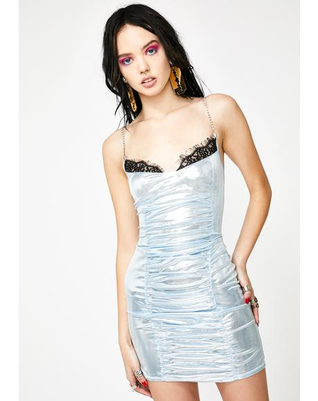 Ruched Metallic Mini Dress