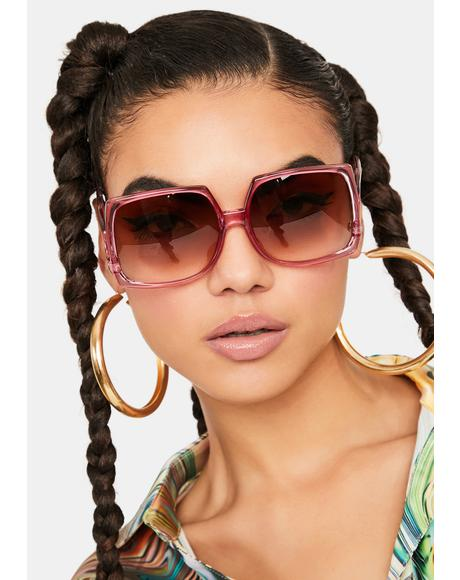 Purple 70s Vibe Oversized Sunglasses