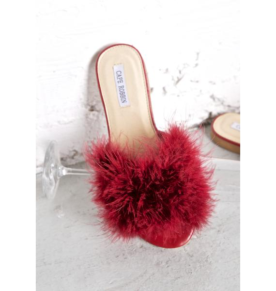 Burgundy Furrever Fluffy Slides