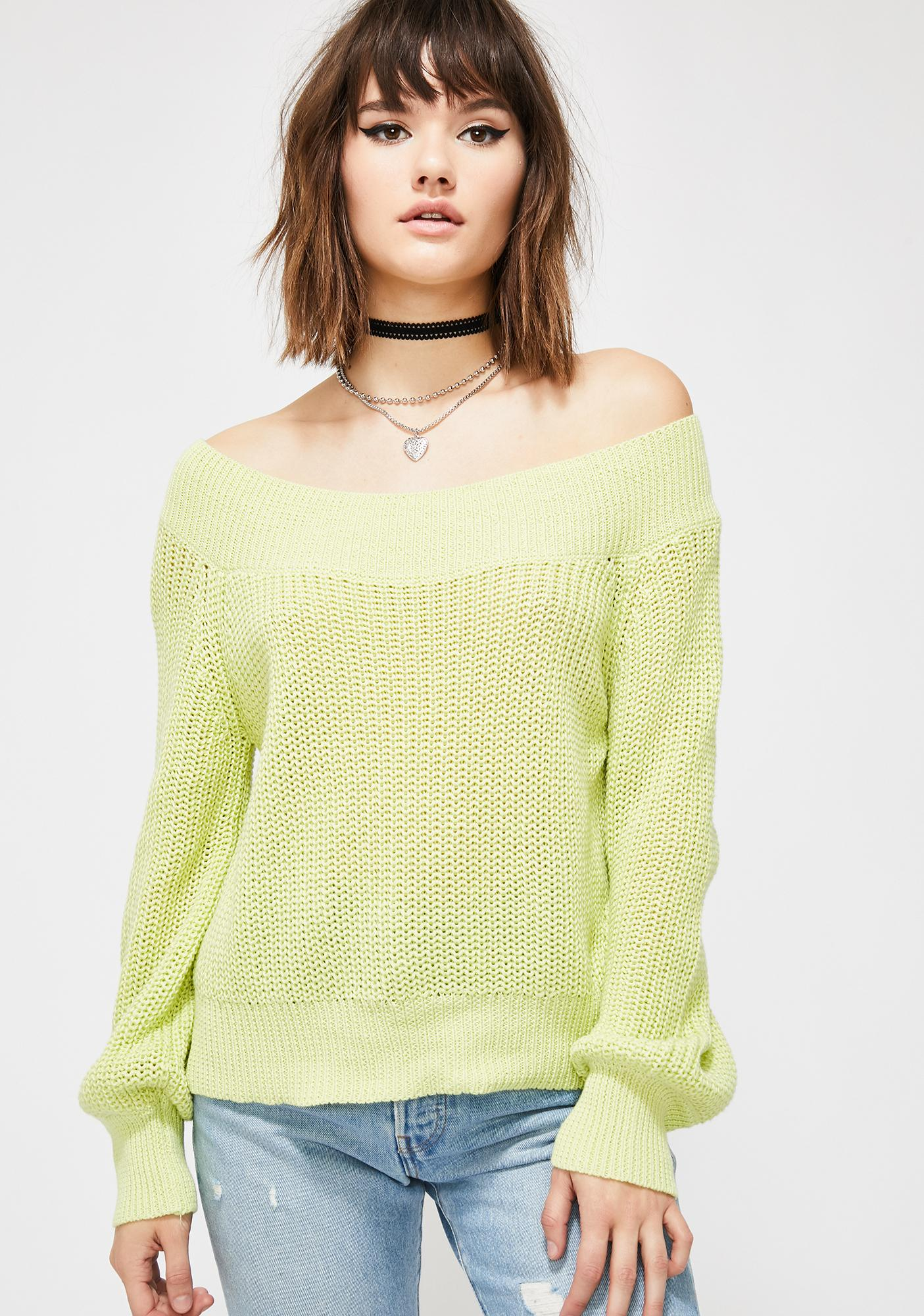 efe9d88fff2 Green Off Shoulder Knit Sweater | Dolls Kill