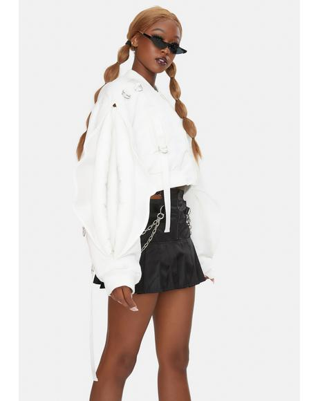 White Nylon Vulva Sleeve Bomber Jacket