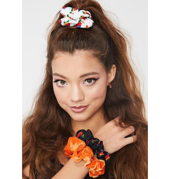 Petals and Peacocks Think Growth 3pc Scrunchie Set