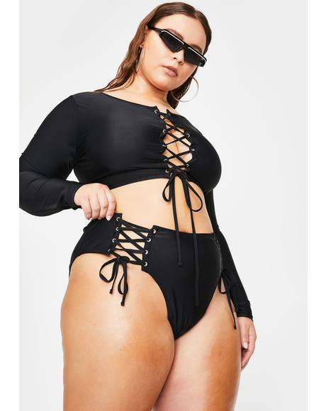Total Undercover Hustler Lace Up Bikini Set