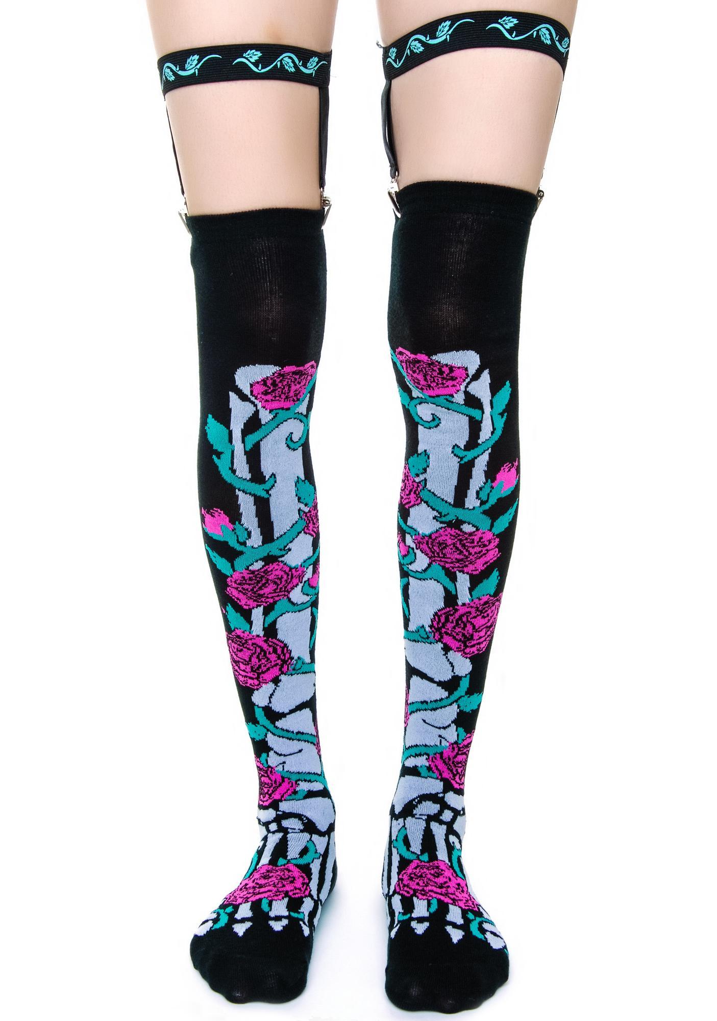 Too Fast Rose Vine Skeleton Garter Socks