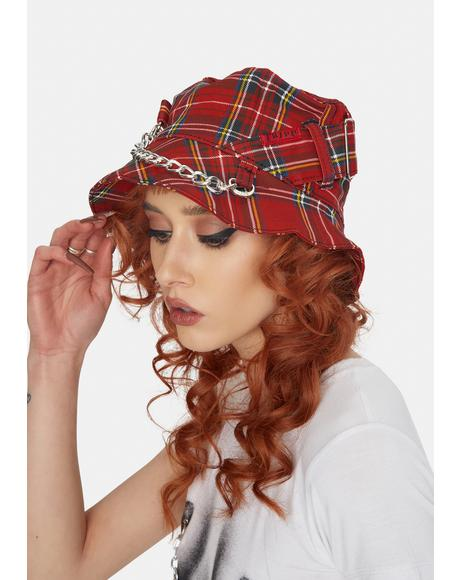Red Plaid Bondage Bucket Hat