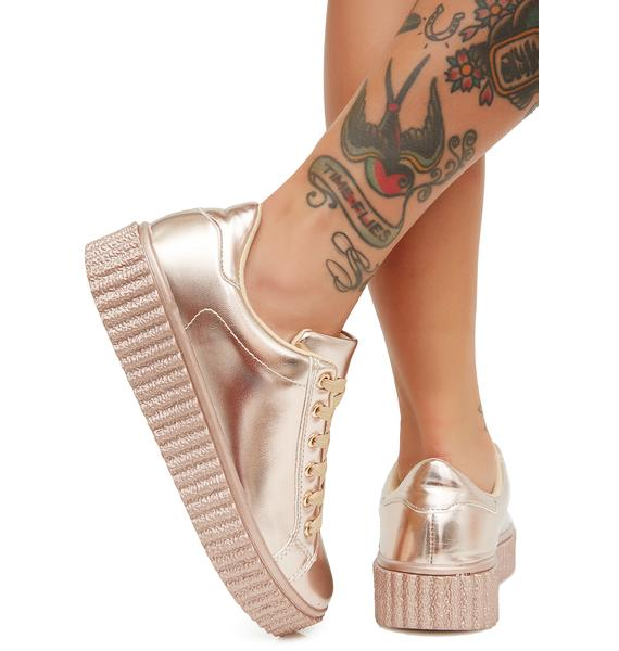 Champagne Liquid Dreams Metallic Sneakers