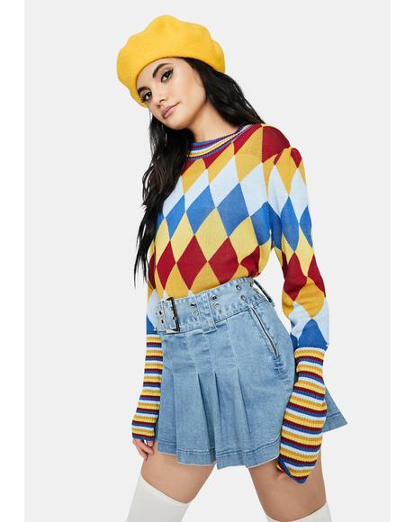 Trending Cutie Argyle Sweater
