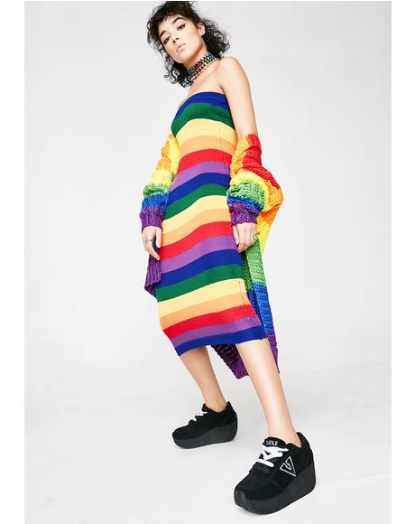 Rainbow Aura Strapless Dress