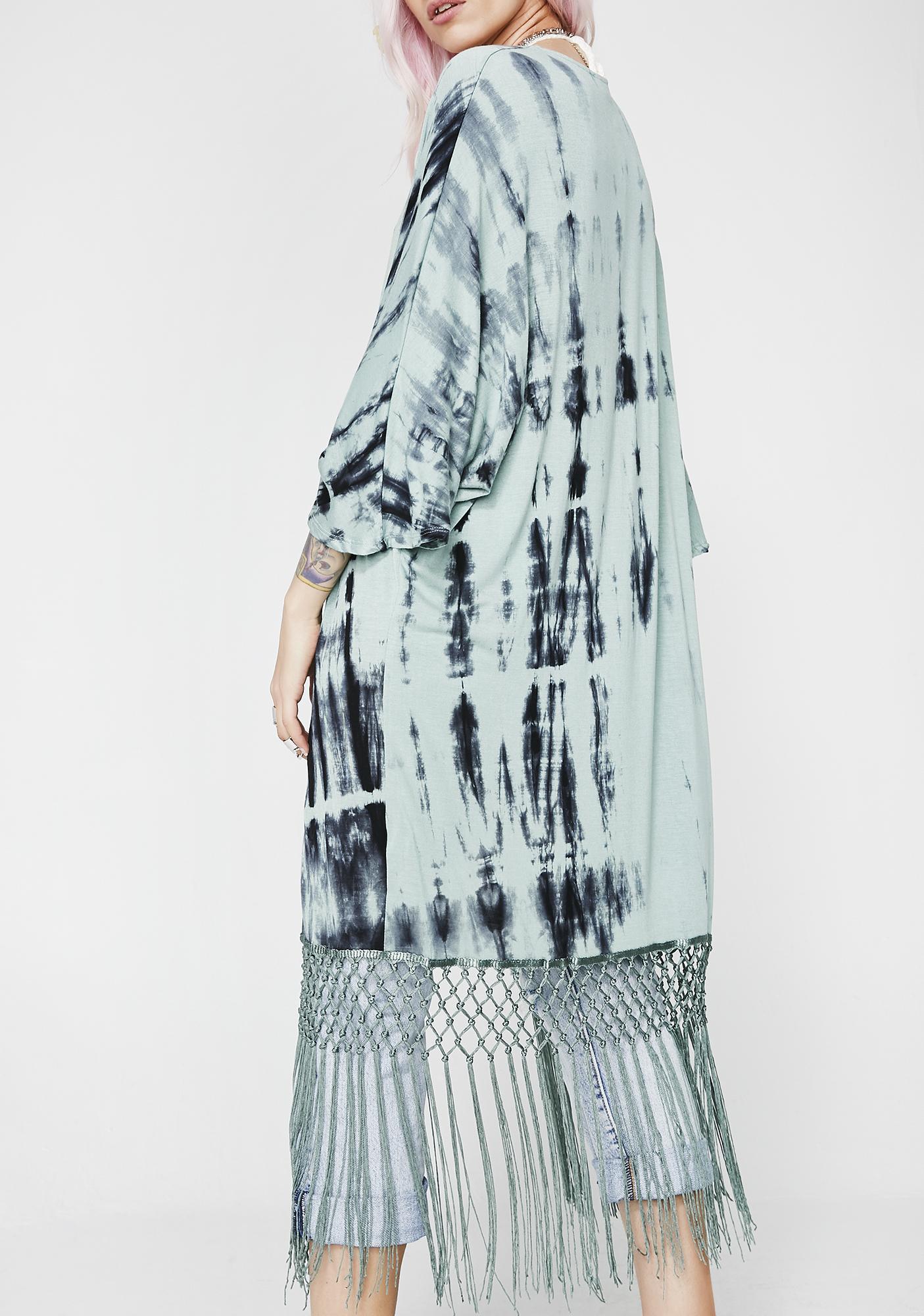 Teal Free Love Tie Dye Kimono