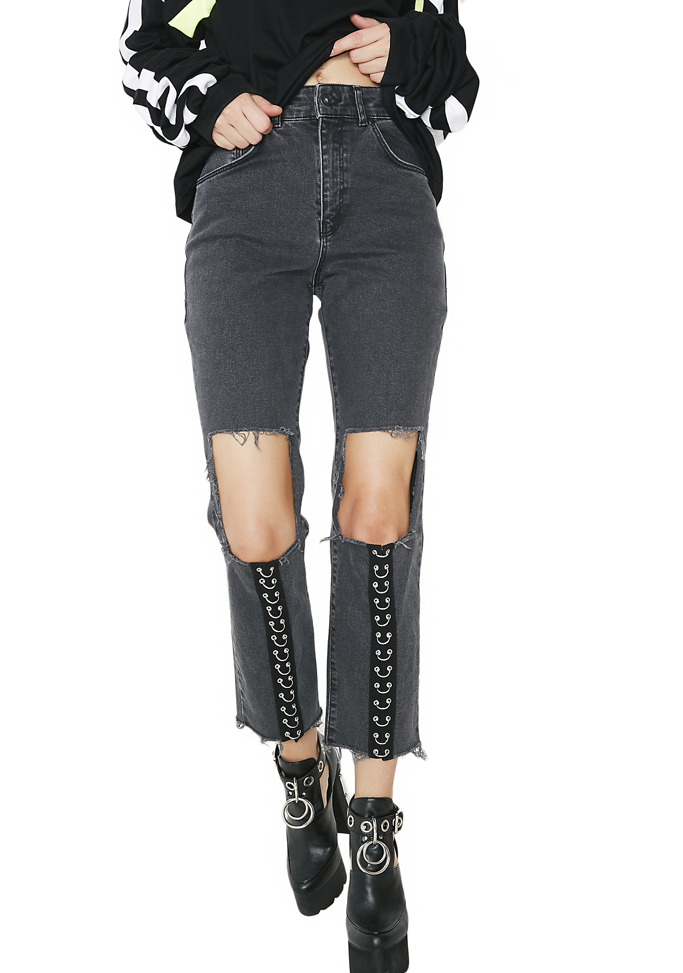 The Ragged Priest Charcoal Brace Jeans