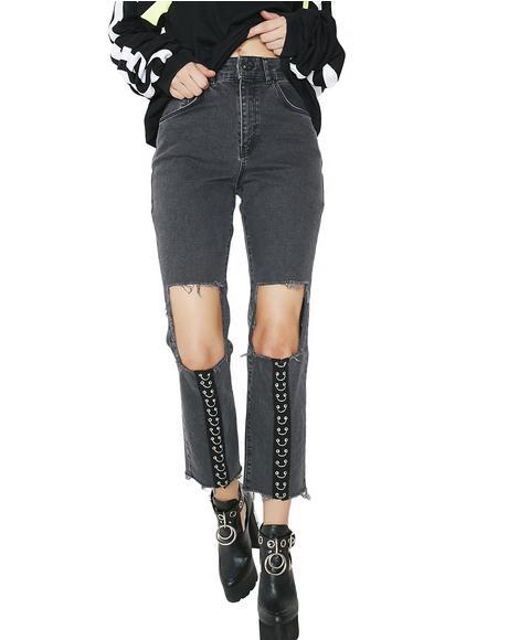 Charcoal Brace Jeans