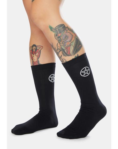 Dark Vibes Pentagram Logo Crew Socks