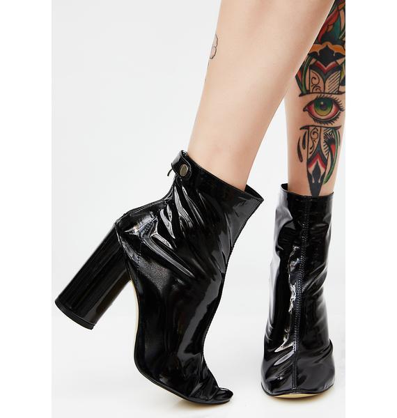 Public Desire Lia Black Vinyl Stud Strap Boots