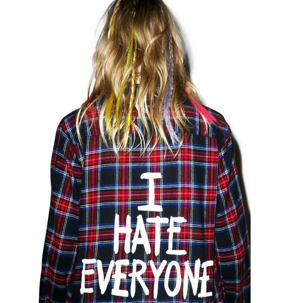 Jac Vanek I Hate Everyone Flannel Shirt