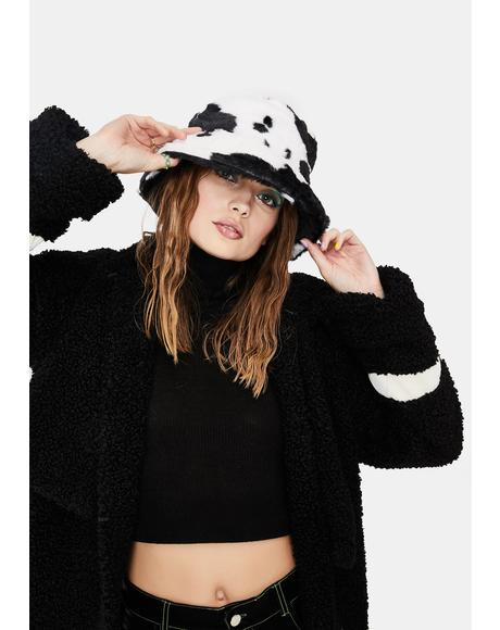 Holy Cow Faux Fur Bucket Hat