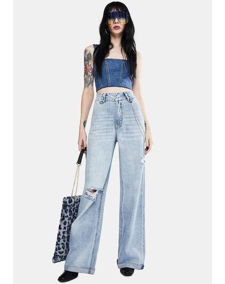 Indigo Raider Trash Hi Dad Wide Leg Denim Jeans