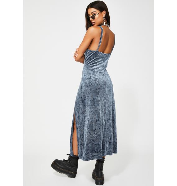 Glamorous Blue Embossed Velvet Maxi Dress