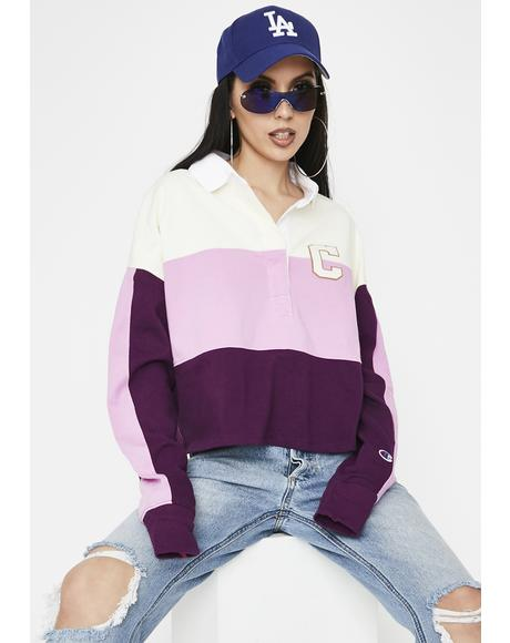 Purple Rugby Cropped Tee