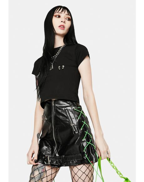 Biker Black Vegan Leather Mini Skirt