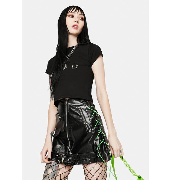 Alice's Lips Biker Black Vegan Leather Mini Skirt