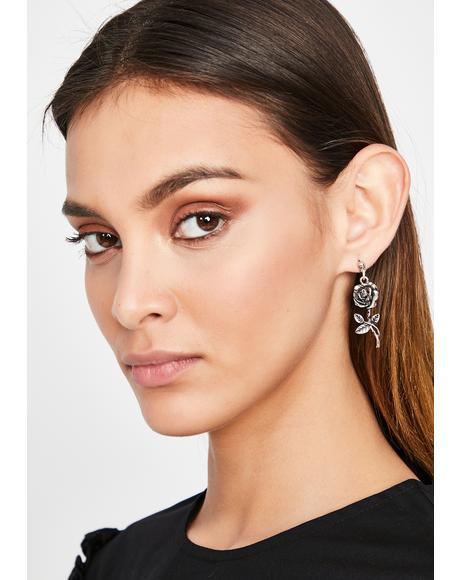 Dark Rose Drop Earrings