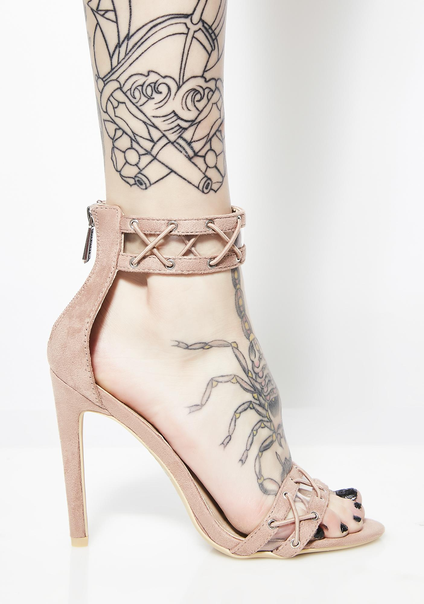 Blush Drive You Crazy Lace-Up Heels