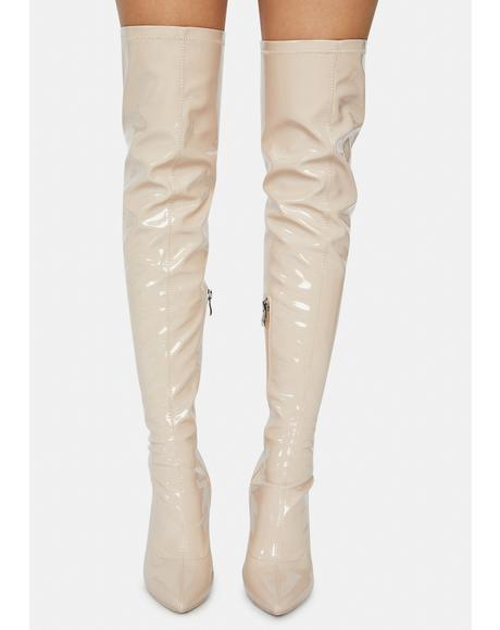 Ginger Checkmate Thigh High Boots