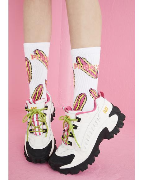 X Pink's Hot Dogs Crew Socks