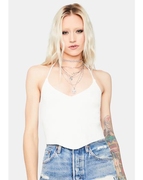 Ivory Take You Down Back Tie Crop Top