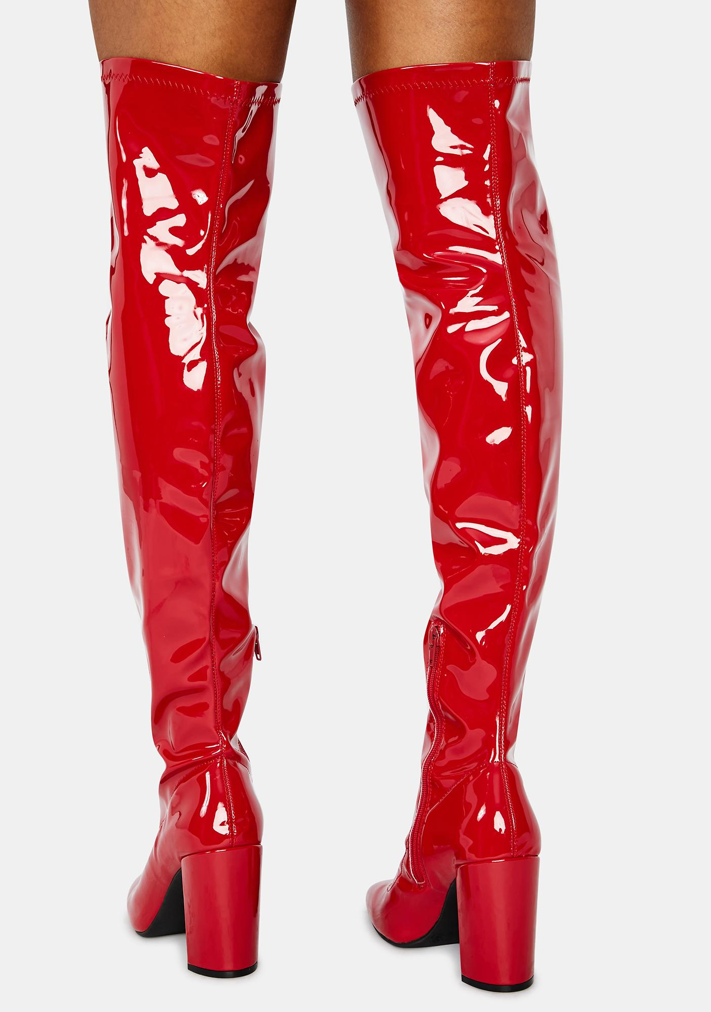 Cherry Looks Could Kill Patent Thigh High Boots