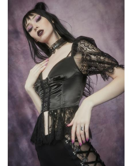 Lost Prophecy Puff Sleeve Corset Top