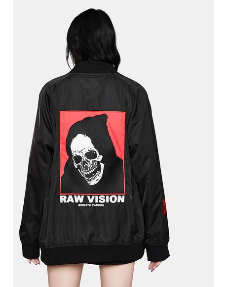 Raw Vision Satin Bomber Jacket