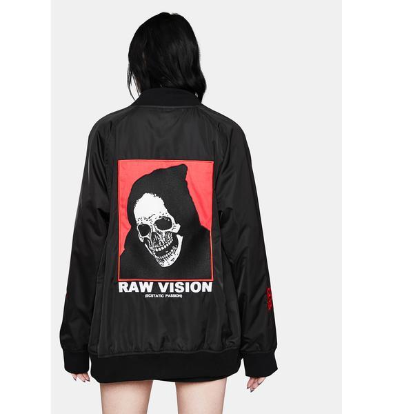 ALIEN BODY Raw Vision Satin Bomber Jacket